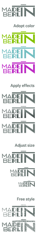 made in berlin logo variations in color and style